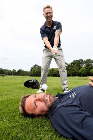 Ronan Keating with Brian McFadden at the Marie Keating Foundation celebrity golf classic fund-raising event at the K Club. Photograph: Jason Clarke