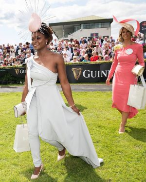 Winner of the Best Dressed competition at the Galway Races, Pamela Uba from Renmore, Co Galway, with Eileen Lundon from Gort, Co Galway, who won the Best Hat title with a hat by Caitriona King.  Photograph Andrew Downes/xposure