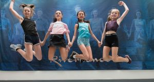 Caoimhe Kirkham (13), Galway; Rachel Kennedy (12) Limerick; Sophia Delaney (13) Laois and Caitlin Murray (12) Armagh are among students taking part in the Riverdance International Summer School in Dublin this year. Photograph: Dave Meehan/ The Irish Times