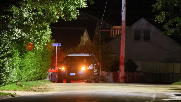 A Barnstable Police cruiser sits at the top of Marchant Avenue as police investigate the death of Saoirse Kennedy Hill. Photograph: Reuters