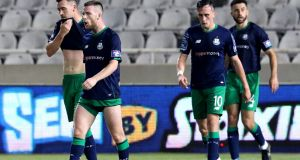 Shamrock Rovers' Aaron Greene, Jack Byrne and Aaron McEneff dejected after Apollon scored their second goal last night in Cyprus. Photograph: Chara Savvides/Inpho