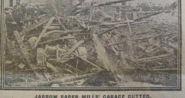The aftrermath of an attack on Jarrow paper mills