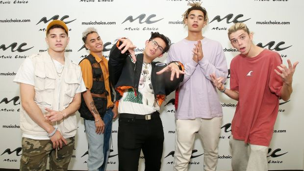 PrettyMuch: Nick Mara, Edwin Honoret, Brandon Arreaga, Zion Kuwonu and Austin Porter. Photograph: John Lamparski/Getty Images