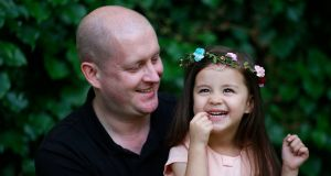 Gavin Leonard with his three-year-old daughter Jade. Gavin tries to meet up with dad friends periodically but says 'every time we try to arrange something, one of us will have an issue so generally we spend most of the time rescheduling'. Photograph: Nick Bradshaw