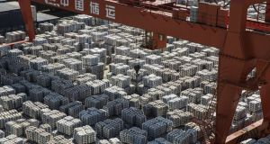 Bundles of aluminium ingots in a stockyard in Wuxi, China: The EU is developing a firmer engagement with Beijing. Photograph: Qilai Shen/Bloomberg