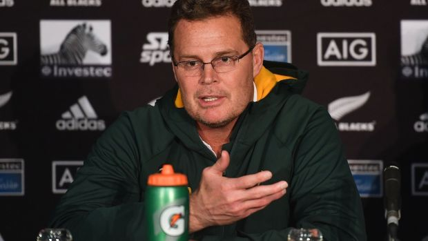 Rassie Erasmus: the head coach is clearly being given what he wants in the often overtly political world of South African rugby and the Boks, who drew in New Zealand, are plainly more organised and sure of what they are doing. Photograph: Marty Melville/AFP/Getty
