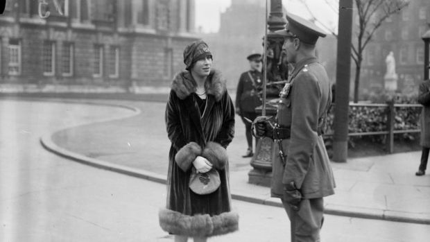 Princess Mary chats with a British army officer during a three-day visit to Belfast with husband, Viscount Lascelles, in October 1928. Photograph: National Library of Ireland/NNI Flickr