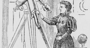 Rose O'Halloran and her telescope. Image sketched by a San Francisco Call artist in 1895.