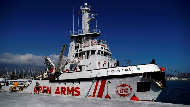 The Open Arms rescue boat in the port of Motril, southern Spain. File photograph: Reuters