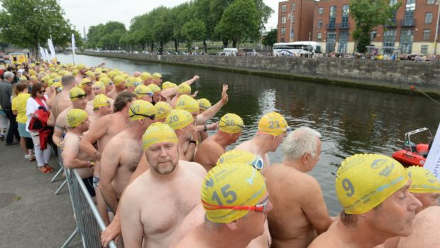 Participants line up for the 100th Liffey Swim Photograph: Dara Mac Donaill / The Irish Times