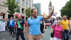 Taoiseach Leo Varadkar joins LGBT community taking part in the Belfast Pride Parade 2019 in Belfast. Photograph:  Paul Faith/AFP/Getty Images