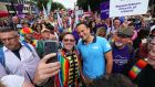 Taoiseach Leo Varadkar  poses for a photo at the start of the Belfast Pride parade. Photograph: Niall Carson/PA Wire