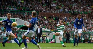 Celtic's Ryan Christie scores his first goal. Photograph: Ian Rutherford/PA Wire.