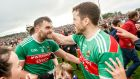 Mayo's Aidan O'Shea and Chris Barrett celebrate after the game. Photograph: James Crombie/Inpho