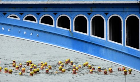 Start of the 100th Dublin City Liffey Swim. Photograph: Dara Mac Donaill