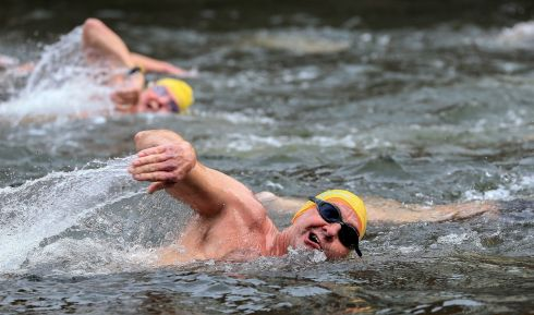 Competitors during the men's race. Photograph: Gary Carr
