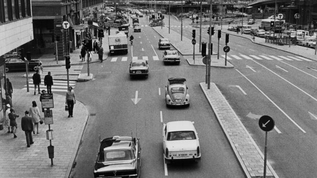 On September 3rd, 1967, on what would become known as 'H-Day' (a contraction of 'Högertrafikomläggningen-Dagen') Sweden swapped sides of the road