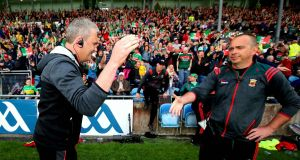 Mayo manager James Horan celebrates at the final  whistle following the victory over Donegal at McHale Park in Castlebar. Photograph: Ryan Byrne/Inpho
