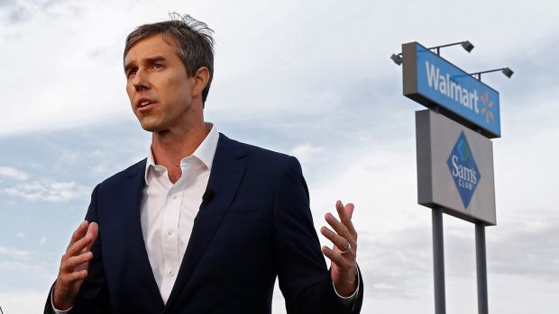 Democratic presidential candidate Beto O'Rourke at the scene of a mass shooting at a Walmart in El Paso, Texas. Photograph: Larry W Smith/EPA