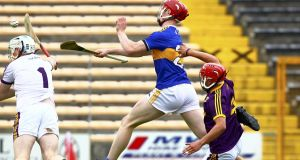 Sean Hayes scores a goal for Tipp in their thrashing of Wexford. Photograph: Ken Sutton/Inpho