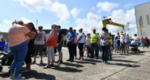 Harland and Wolff workers hosting a family fun day for people who have supported their fight to save the  shipyard. Photograph:  Colm Lenaghan/Pacemaker