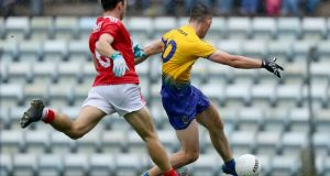 Roscommon's Brian Stack scores a goal against Cork on Sunday afternoon. Photograph: Inpho