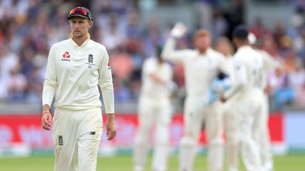 Joe Root's Emgland have a mammoth task to save the opening Test match against Australia at Edgbaston. Photograph: Mike Egerton/PA