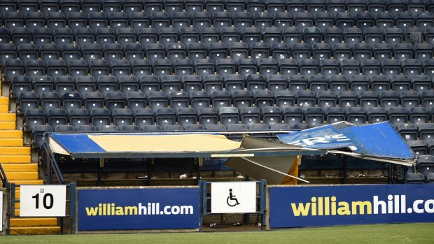 A general view of the damaged disabled enclosure after Rangers fans stood on the roof of it. Photograph: PA