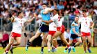 Diarmuid Connolly of Dublin and Tyrone's Michael McKernan vie for possession in Healy Park, Omagh. Photograph: Ryan Byrne/Inpho