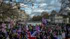 Demonstrators march to vent their frustrations over Britain's inability to agree on a plan to leave the European Union, in London. Photograph: Andrew Testa/The New York Times