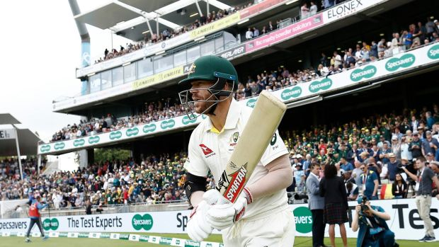 David Warner strides out to bat on the opening day of the first Ashes Test against England. Photograph: Ryan Pierse/Getty