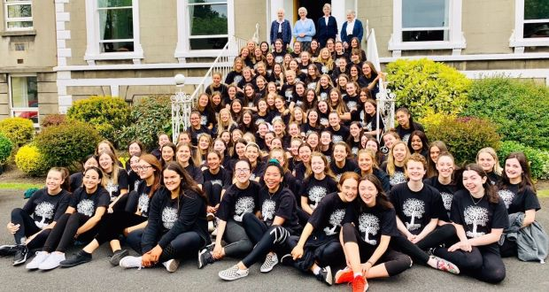 Sixth-year students at Muckross Park College on their last day of school alongside nuns from the Dominican convent