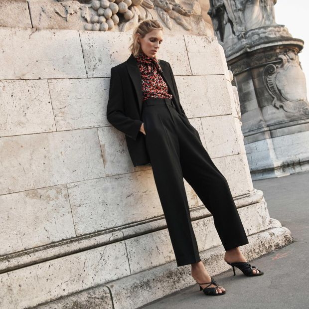 Blazer €59.95, blouse €39.95, trousers €49.95, sandals €79.95, all Zara