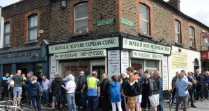 Queues at the GAA ticket office at Dorset St, Dublin. Photograph: Dara Mac Dónaill/The Irish Times