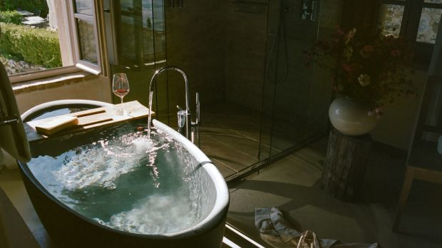 The natural womblike form of the egg bath, as pictured here at the Monteverdi, a luxury hotel perched atop a Tuscan village