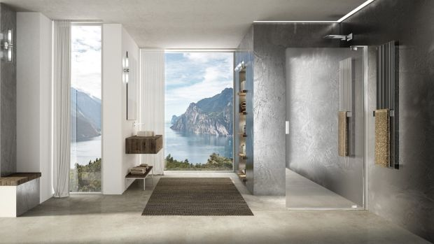 Italian firm Duka creates custom shower enclosures that includes a mirror-effect chromed glass that can help to reflect light or outdoor scenery into the room.