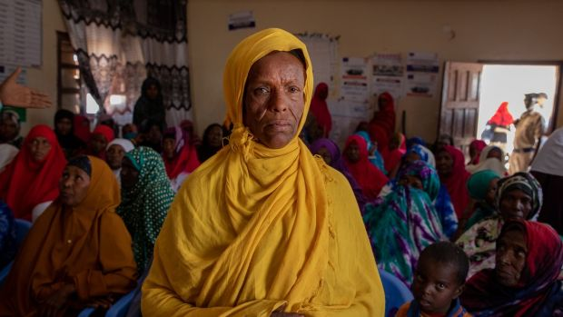 Shleka Yusuf Gule at a community meeting in her IDP camp on the border of Hargeisa. Photograph: Gavin Douglas/Concern Worldwide