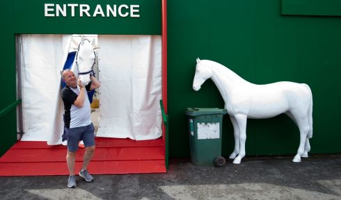 HORSING AROUND: David Minto outside the Horseware Stall at the RDS ahead of the Dublin Horse Show which starts on Wednesday. Photograph: Tom Honan