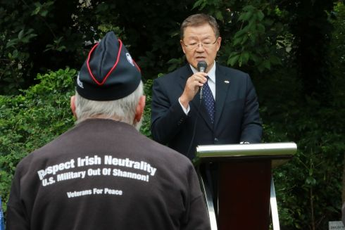 NEVER FORGET: Japanese diplomat Kenichiro Sasame at the Irish Campaign for Nuclear Disarmament has held its annual Hiroshima Day commemoration at Merrion Square, Dublin. Photograph: Nick Bradshaw