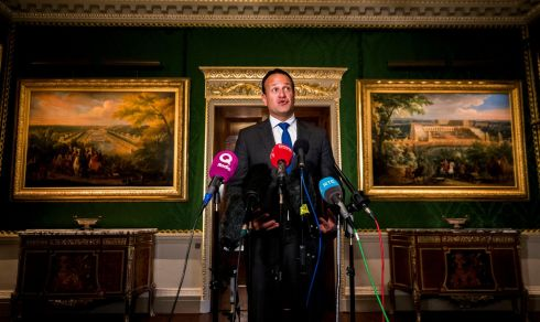 CASTLES IN THE SKY: Taoiseach Leo Varadkar speaking to media, after touring Hillsborough Castle in Co Down. Photograph: Liam McBurney/PA Wire