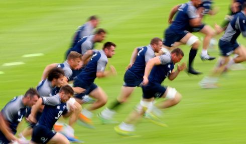 HARD YARDS: The Ireland squad being put through their paces at Carton House, Co Kildare, in preparation for the Rugby World Cup. Photograph: James Crombie/Inpho