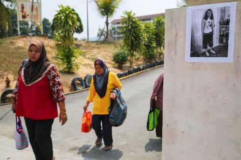 MISSING GIRL: A picture of 15-year-old Nora Quoirin from London, who was staying with her family before going missing, on the wall of Pantai primary school in Seremban, Negeri Sembilan, Malaysia. Nora, is the daughter of an Irish-French couple. Photograph: Fazry Ismail/EPA