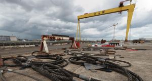 Metal cables lie in the rig area in front of the Samson crane at the Harland and Wolff shipyard, which has gone into administration. Photograph: Liam McBurney/PA Wire