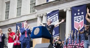 Megan Rapinoe speaks at the homecoming celebrations for the US women's soccer team in New York after they won the World Cup. Photo: Ira L. Black/Getty Images