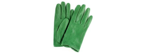 Green leather Sasha gloves by Paula Rowan ?90