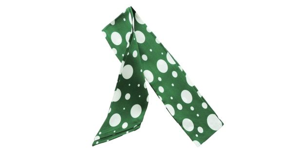Green twill silk polka dot scarf ?25 by KDK