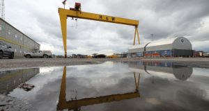 Harland & Wolff shipyard showing one of the twin cranes in the background. Photograph: Liam McBurney/PA Wire