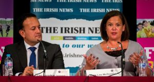 Taoiseach Leo Varadkar and Sinn Féin president Mary Lou McDonald during Féile an Phobail's leaders' debate, at St Mary's University College, Belfast.  Photograph: Liam McBurney/PA Wire