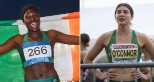 Sportswomen of Month winners Rhasidat Adeleke (Athletics) and Kate O'Connor (Athletics). Photographs: Sportsfile/Getty Images