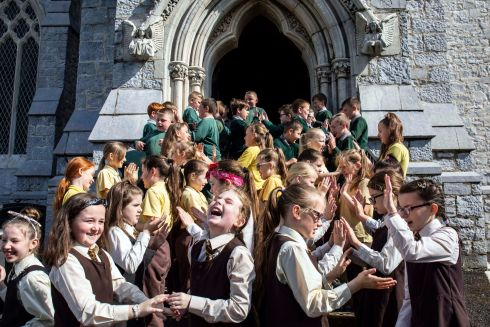SCHOOL'S OUT: Pupils of St Patrick's boys and girls national schools on Gardiner's Hill, set the wheels in motion for another jam-packed Cork Heritage Open Day at Trinity Presbyterian Church on Summerhill North, Cork City. Photograph: Clare Keogh